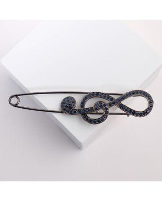 """Булавка """"Скрипичный ключ"""", 10см, цвет тёмно-синий в сером металле арт. СМЛ-105831-1-СМЛ0004767163"""