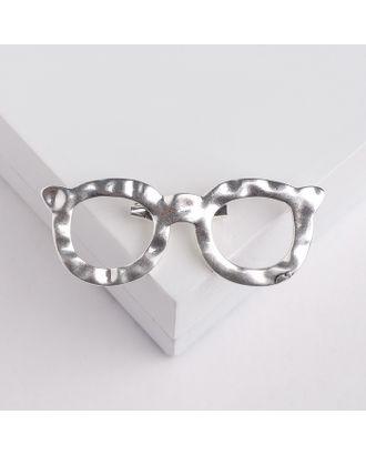 """Брошь """"Очки"""", цвет матового серебра арт. СМЛ-124906-1-СМЛ0004768367"""