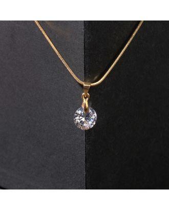 """Кулон """"Стразинка"""" кристалл, 40см, цвет белый в золоте арт. СМЛ-125755-1-СМЛ0004782599"""