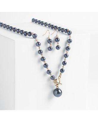 """Набор 2 предмета: серьги колье """"Габриела"""" мелкие жемчужины, цвет тёмно-синий в золоте арт. СМЛ-119344-1-СМЛ0004850443"""