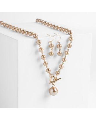 """Набор 2 предмета: серьги колье """"Габриела"""" мелкие жемчужины, цвет светло-коричневый в золоте арт. СМЛ-119345-1-СМЛ0004850444"""