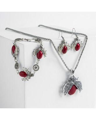 """Гарнитур 3 предмета: серьги, колье, браслет """"Скоробеи"""" цвет красный в серебре арт. СМЛ-119709-1-СМЛ0004850447"""