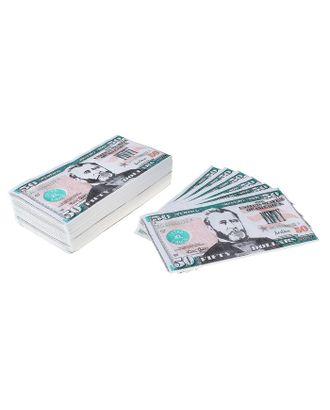 """Сувенирные салфетки бумажные """"Пачка денег 50 долларов"""" двухслойные 25 листов 33х33 см арт. СМЛ-120738-1-СМЛ0000485282"""
