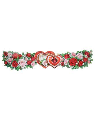 """Растяжка """"Свадебная"""" глиттер, цветы, 20 х 90 см арт. СМЛ-121592-1-СМЛ0004910343"""