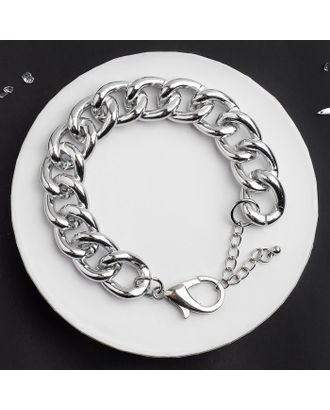"""Браслет металл """"Цепь"""" узкие звенья, цвет серебро, 17,5см арт. СМЛ-124918-1-СМЛ0004922852"""