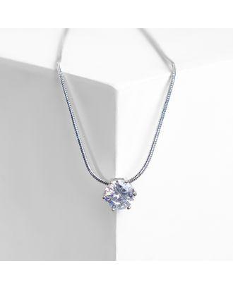 """Кулон """"Стразинка"""" в цапе, цвет белый в серебре, 40см арт. СМЛ-125533-1-СМЛ0004929702"""
