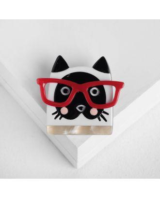 """Брошь """"Котик"""" в очках, цвет чёрно-белый арт. СМЛ-105451-2-СМЛ0004933037"""