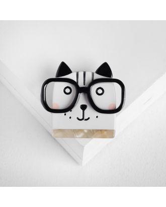 """Брошь """"Котик"""" в очках, цвет чёрно-белый арт. СМЛ-105451-1-СМЛ0004933038"""