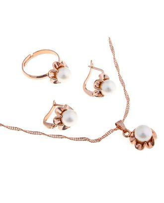 """Гарнитур 3 предмета: серьги, кулон, кольцо безразмерное """"Эдель"""" с жемчугом цветок, цвет белый в золоте арт. СМЛ-19546-1-СМЛ0494481"""