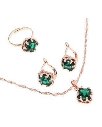 """Гарнитур 3 предмета: серьги, кулон, кольцо безразмерное """"Эдель"""" ромб, цвет зеленый арт. СМЛ-19547-1-СМЛ0494483"""
