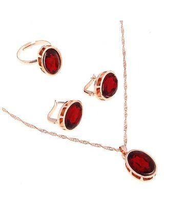 """Гарнитур 3 предмета: серьги, кулон, кольцо безразмерное """"Эдель"""" овал вытянутый, цвет красный арт. СМЛ-19548-1-СМЛ0494484"""