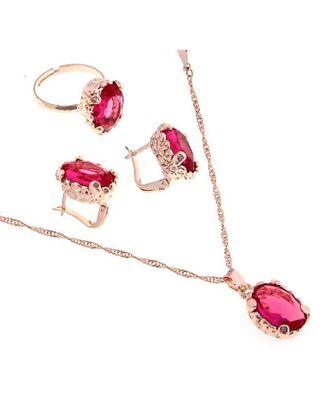 """Гарнитур 3 предмета: серьги, кулон, кольцо безразмерное """"Эдель"""" овал крупный, цвет розовый арт. СМЛ-19549-1-СМЛ0494485"""