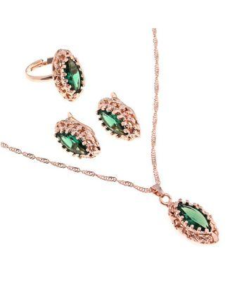 """Гарнитур 3 предмета: серьги, кулон, кольцо безразмерное """"Эдель"""" овал вытянутый, цвет зеленый арт. СМЛ-19550-1-СМЛ0494488"""