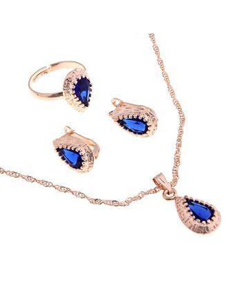"""Гарнитур 3 предмета: серьги, кулон, кольцо безразмерное """"Эдель"""" капля, цвет синий арт. СМЛ-19551-1-СМЛ0494490"""