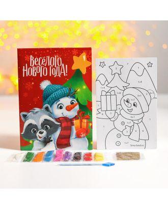 Фреска- открытка «Веселого Нового года» Снеговик и енотик арт. СМЛ-123134-1-СМЛ0004963750