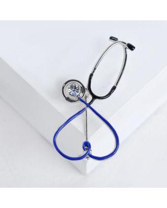 """Брошь """"Стетоскоп"""" сердце, цвет чёрный в серебре арт. СМЛ-124925-2-СМЛ0004963882"""