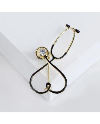 """Брошь """"Стетоскоп"""" сердце, цвет чёрный в серебре арт. СМЛ-124925-3-СМЛ0004963883"""