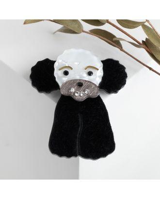 """Брошь """"Собачка"""" пудель, цвет чёрно-белый в серебре арт. СМЛ-117707-1-СМЛ0004982688"""