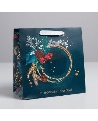 Пакет ламинированный квадратный «Новогодняя ботаника», 14 × 14 × 9 см арт. СМЛ-107497-3-СМЛ0004984227