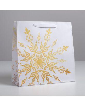 Пакет ламинированный квадратный «Снежинки», 22 × 22 × 11 см арт. СМЛ-107499-3-СМЛ0004984240