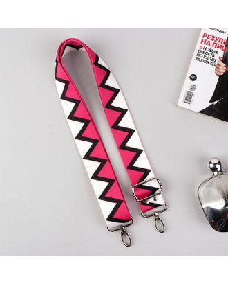 Ручка для сумки, стропа, 130 ± 5 см, цвет розово-белый, фурнитура МИКС арт. СМЛ-35060-1-СМЛ0004990813
