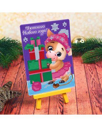 """Алмазная мозаика для детей """"Коровка с подарком"""" + емкость, стержень с клеевой подушечкой арт. СМЛ-122479-1-СМЛ0004994593"""
