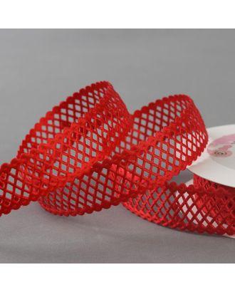 Лента фигурная «Ромбы резные», 25 мм, 9 ± 0,5 м, цвет красный арт. СМЛ-40490-1-СМЛ0004994869