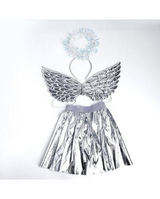 Карнавальный набор «Ангел», ободок, юбка, крылья, цвет серебряный арт. СМЛ-123163-1-СМЛ0005010801