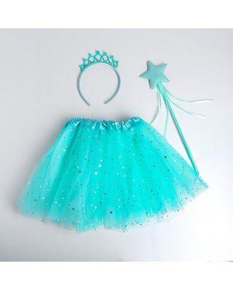 Карнавальный набор «Принцесса», ободок, жезл, юбка, цвет бирюзовый арт. СМЛ-123169-1-СМЛ0005010807