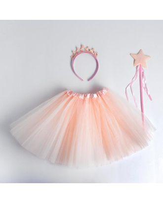 Карнавальный набор «Принцесса», ободок, жезл, юбка, цвет светло-розовый арт. СМЛ-123170-1-СМЛ0005010808