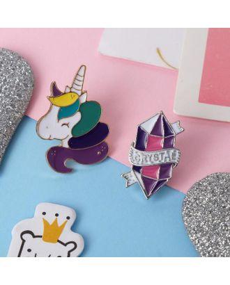 """Набор значков """"Мультики"""" единорог и кристалл, цветные в серебре, 2 шт. арт. СМЛ-107711-1-СМЛ0005013361"""