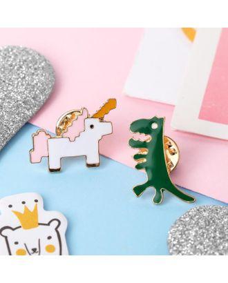 """Набор значков """"Мультики"""" единорог и динозавр, цветные в золоте, 2 шт. арт. СМЛ-107712-1-СМЛ0005013362"""