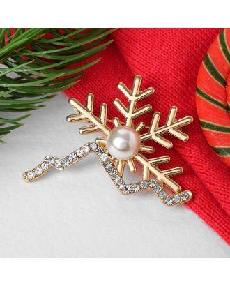 """Брошь новогодняя """"Снег"""" и горы, цвет белый в золоте арт. СМЛ-121892-1-СМЛ0005013373"""