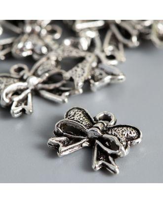 Подвеска Бантик, цвет серебро 1х1,1 см арт. СМЛ-121658-1-СМЛ0005015446