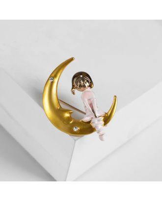 """Брошь """"Девочка"""" на Луне, цветная в золоте арт. СМЛ-105247-1-СМЛ0005018442"""