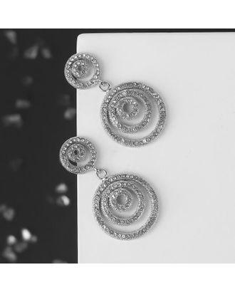"""Серьги со стразами """"Зум"""" два круга, цвет белый в серебре арт. СМЛ-125060-1-СМЛ0005018460"""