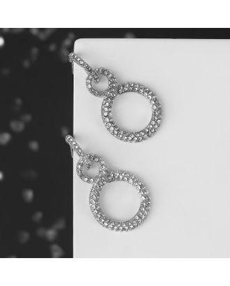 """Серьги со стразами """"Бесконечность"""" два круга, цвет белый в золоте арт. СМЛ-125062-2-СМЛ0005018464"""