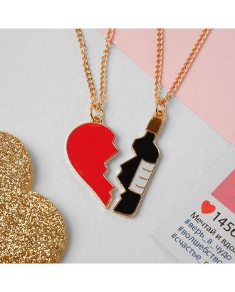 """Кулоны """"Неразлучники"""" сердце и вино, цветной в золоте, 45 см арт. СМЛ-123148-1-СМЛ0005043340"""