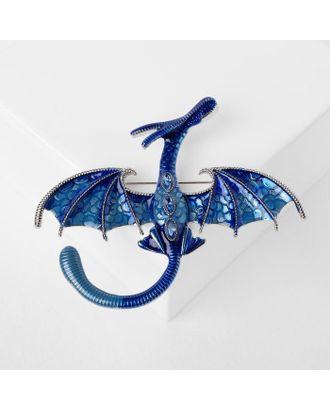 """Брошь """"Дракон"""" летящий, цвет синий в серебре арт. СМЛ-124977-1-СМЛ0005049664"""