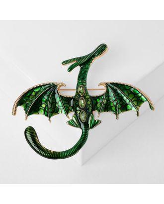 """Брошь """"Дракон"""" летящий, цвет синий в серебре арт. СМЛ-124977-3-СМЛ0005049665"""