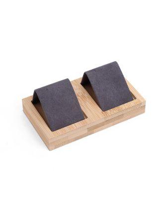 Подставка под серьги, дерево, 2 пары, 10,5*6,8 см, цвет чёрный арт. СМЛ-40579-1-СМЛ0005050489