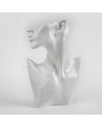 Бюст для украшений, пол-лица, отверстие под серьгу, 18*5*26, цвет серебро арт. СМЛ-40415-2-СМЛ0005050496