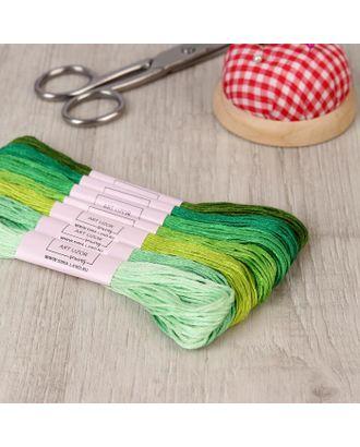 Набор ниток мулине, 8 ± 1 м, 7 шт, цвет зелёный спектр арт. СМЛ-111807-1-СМЛ0005054414