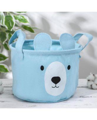 Корзинка для храненения с ручками «Мишка», 20×20×15 см, цвет голубой арт. СМЛ-41633-1-СМЛ0005060177