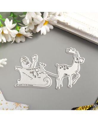 """Нож для вырубки сталь """"Дед Мороз в санях с оленем"""" 6х9,7 см арт. СМЛ-123295-1-СМЛ0005067703"""