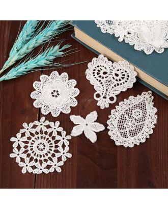 Набор вязаных элементов «Цветы и узоры», 10 шт, цвет белый арт. СМЛ-35199-1-СМЛ0005080613