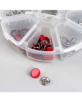 Набор кнопок рубашечных в контейнере, закрытые, d = 9,5 мм, 50 шт, цвет красный арт. СМЛ-121719-1-СМЛ0005081992