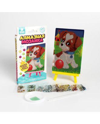"""Алмазная мозаика для детей """"Веселая собачка""""  + емкость, стержень с клеевой подушечкой арт. СМЛ-124616-1-СМЛ0005094455"""