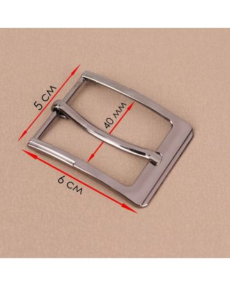 Пряжка для ремня, 6 × 5 см, 40 мм, цвет чёрный никель арт. СМЛ-123318-1-СМЛ0005094953