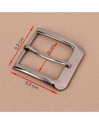 Пряжка для ремня, 5,5 × 5,2 см, 35 мм, цвет чёрный никель арт. СМЛ-123321-1-СМЛ0005094959
